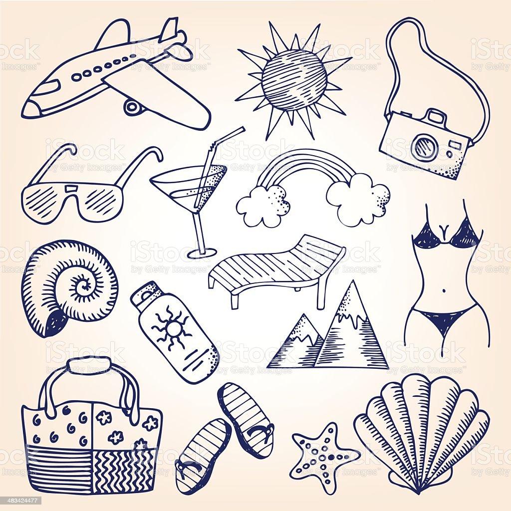 Travel doodles royalty-free stock vector art