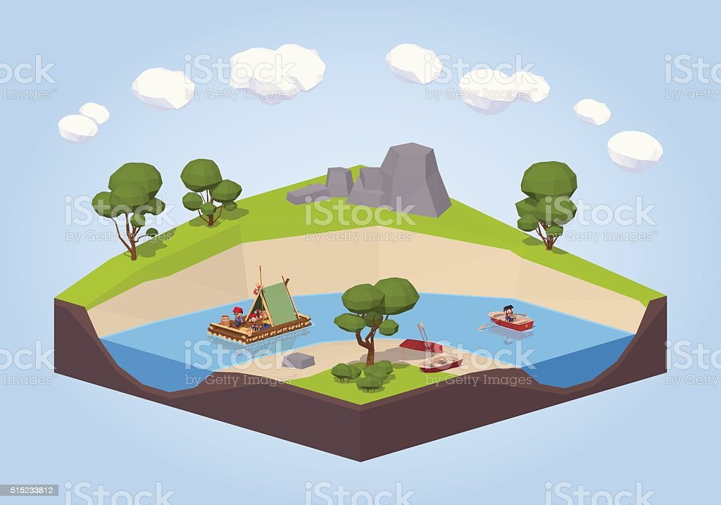 Travel down the river on a raft and punt vector art illustration