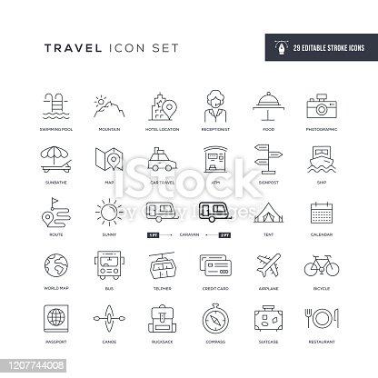 Iconos de línea de trazo editables de viaje