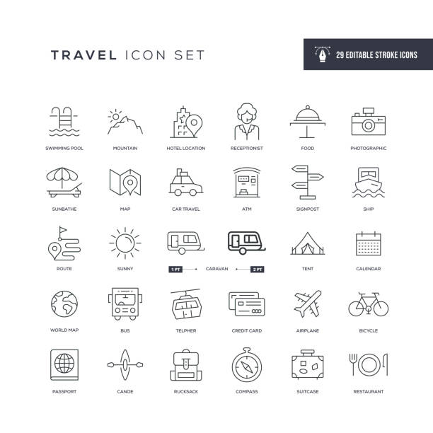 Travel Editable Stroke Line Icons 29 Travel Icons - Editable Stroke - Easy to edit and customize - You can easily customize the stroke with travel icons stock illustrations
