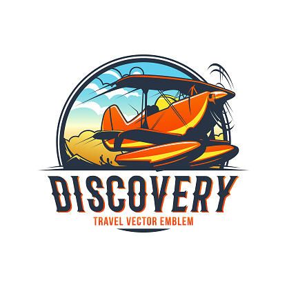 Travel emblem of water airplane with sky and mountains on background