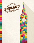 Travel England famous landmark. Colorful polygonal monument with vintage label and textured paper background. Ideal for website, brochure or marketing campaign. EPS10 vector file.