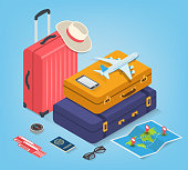 Travel equipment in Isometric style. Travel and tourism concept. Vector