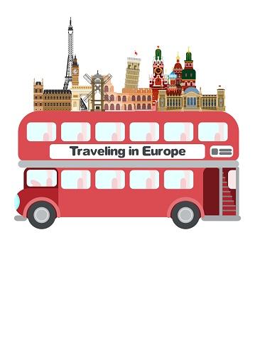 travel europe london bus. flat style image vector
