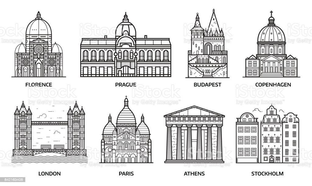Travel Europe Monuments and Landmarks vector art illustration
