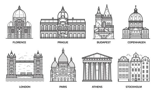 illustrazioni stock, clip art, cartoni animati e icone di tendenza di travel europe monuments and landmarks - firenze