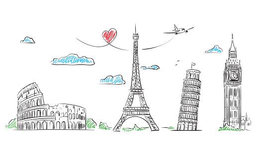European cities symbols sketch. Hand drawn tourist collage. Vector Illustration