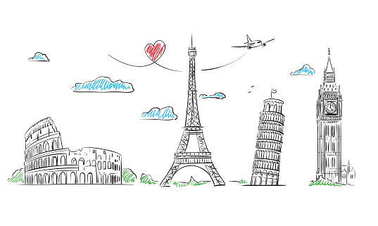 Travel Europe Symbol sketch. Paris, Rome, London, Pisa