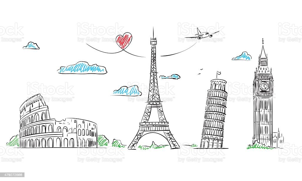 Travel Europe Symbol sketch. Paris, Rome, London, Pisa vector art illustration