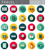 A travel themed circular flat design style icon set with a long side shadow. File is cleanly built and easy to edit. Vector file is built in the CMYK color space for optimal printing.