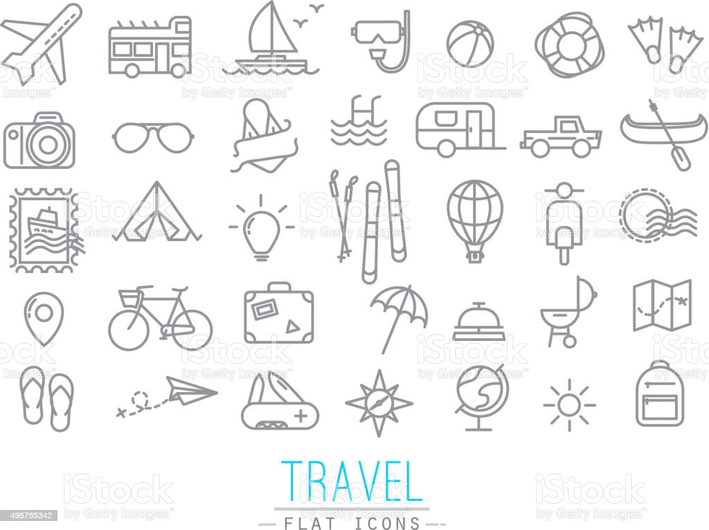 Travel flat icons vector art illustration