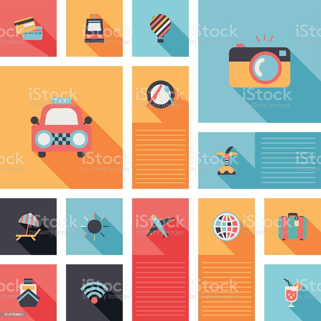 travel flat icons vector ui with long shadow vector art illustration