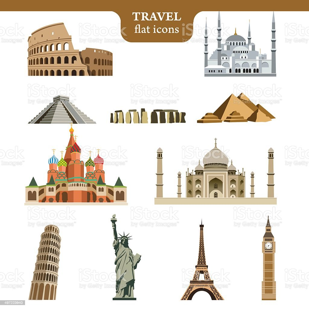 Travel flat vector icons set vector art illustration