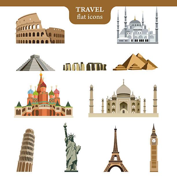 stockillustraties, clipart, cartoons en iconen met travel flat vector icons set - monument