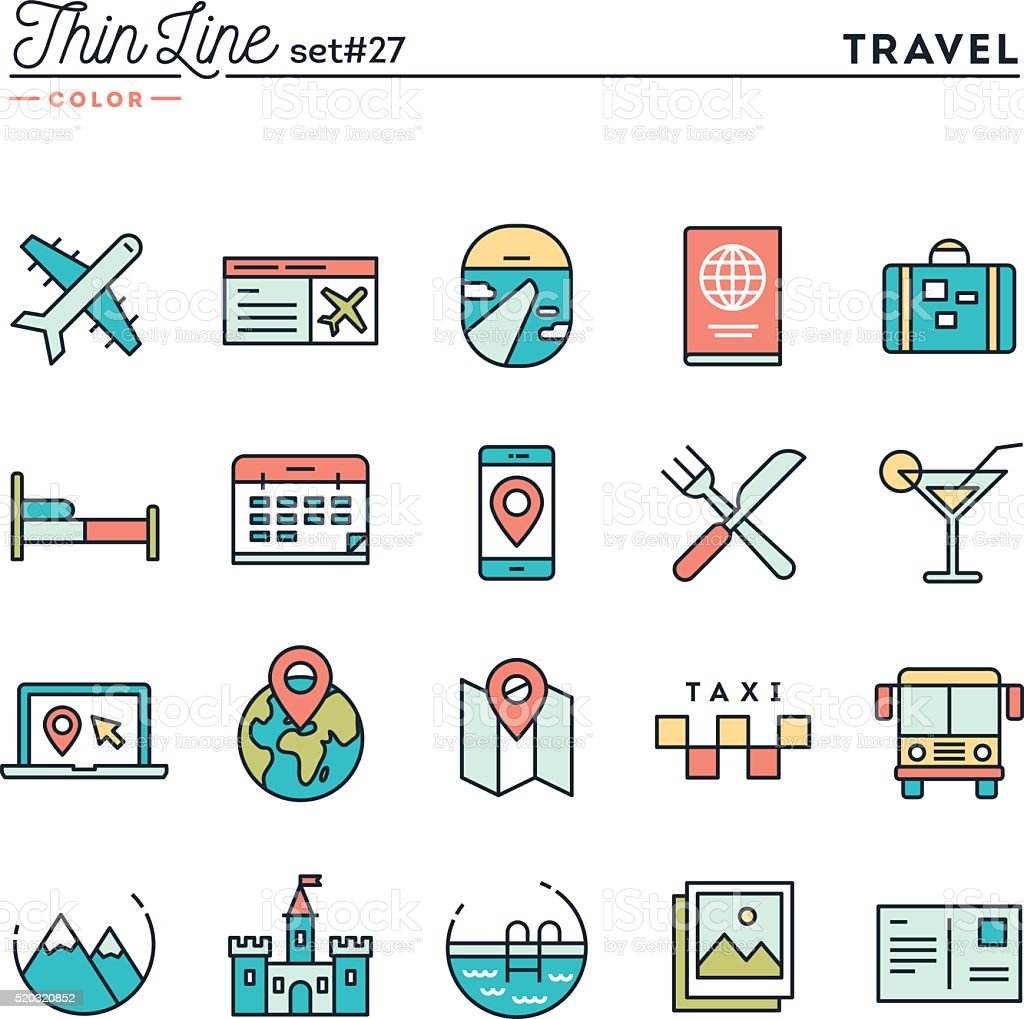 Travel, flight, accommodation, destination booking and more vector art illustration
