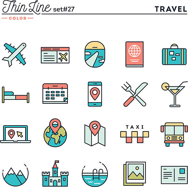 travel, flight, accommodation, destination booking and more - business travel stock illustrations, clip art, cartoons, & icons