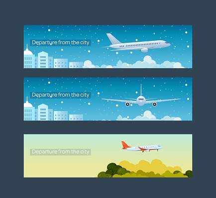 Travel Flight By Passenger Plane Departure From The City Stock Illustration Download Image Now Istock