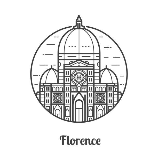 illustrazioni stock, clip art, cartoni animati e icone di tendenza di travel florence icon - firenze