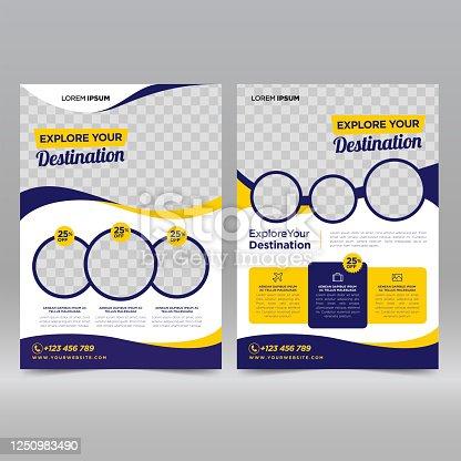 istock Travel flyer design template 1250983490