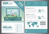 Travel flyer design with famous world landmarks. Brochure headline for Travel and Tourism. Vector illustration