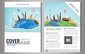 Travel flyer design with famous world landmarks. Brochure headline for Travel and Tourism. Vector. Modern flat design.
