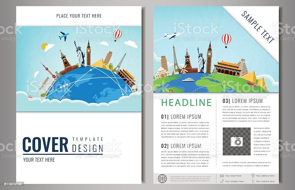 Travel flyer design with famous world landmarks. Brochure headline vector art illustration