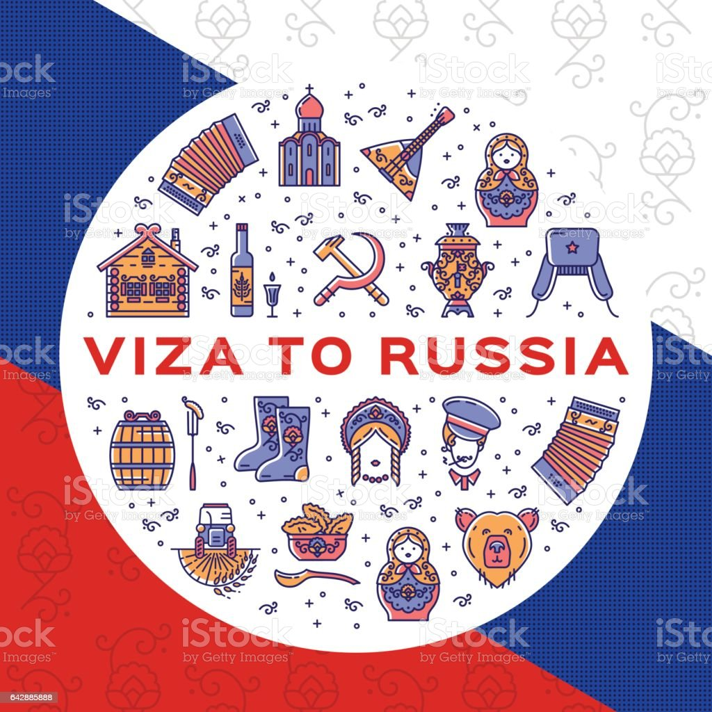Travel flyer Visa to Russia. Colorful russian icons on a flag background. Flat circle infographics vector art illustration