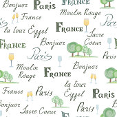 Travel France tile background. Paris city seamless pattern. Handwritten lettering, nature design elements, trees, wine glasses. French cuisine cafe decoration concept