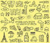 Vector illustration of a funny doodles with the theme of traveling and vacations