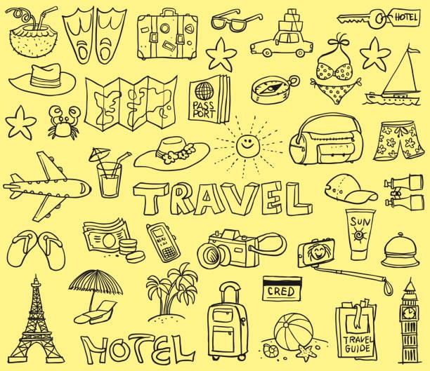 旅行滑稽塗鴉 - 旅行 幅插畫檔、美工圖案、卡通及圖標