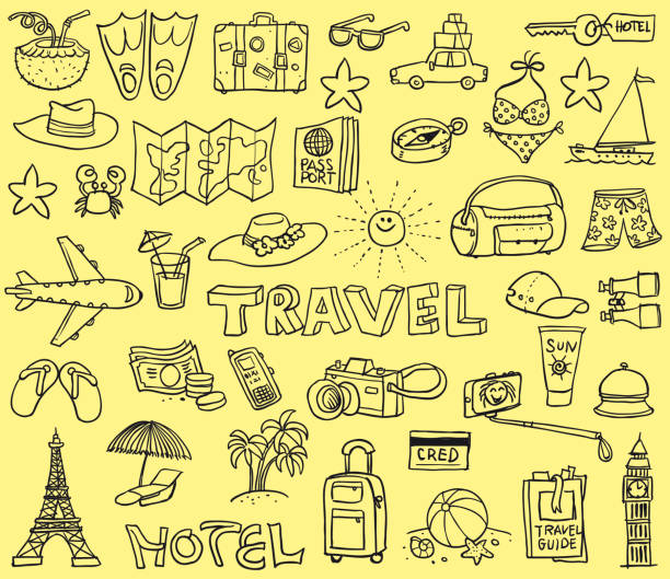 Travel Funny Doodles vector art illustration