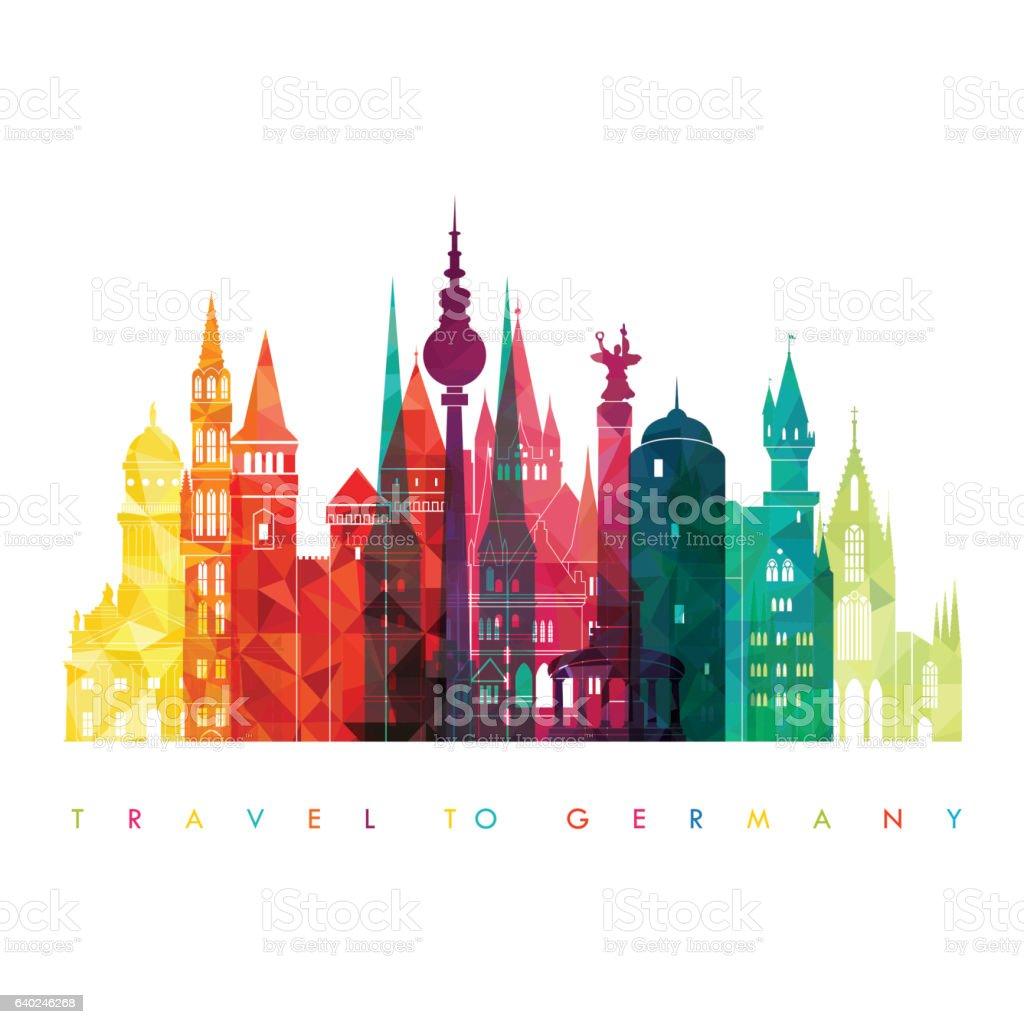 Travel Germany famous landmarks skyline. Vector illustration vector art illustration
