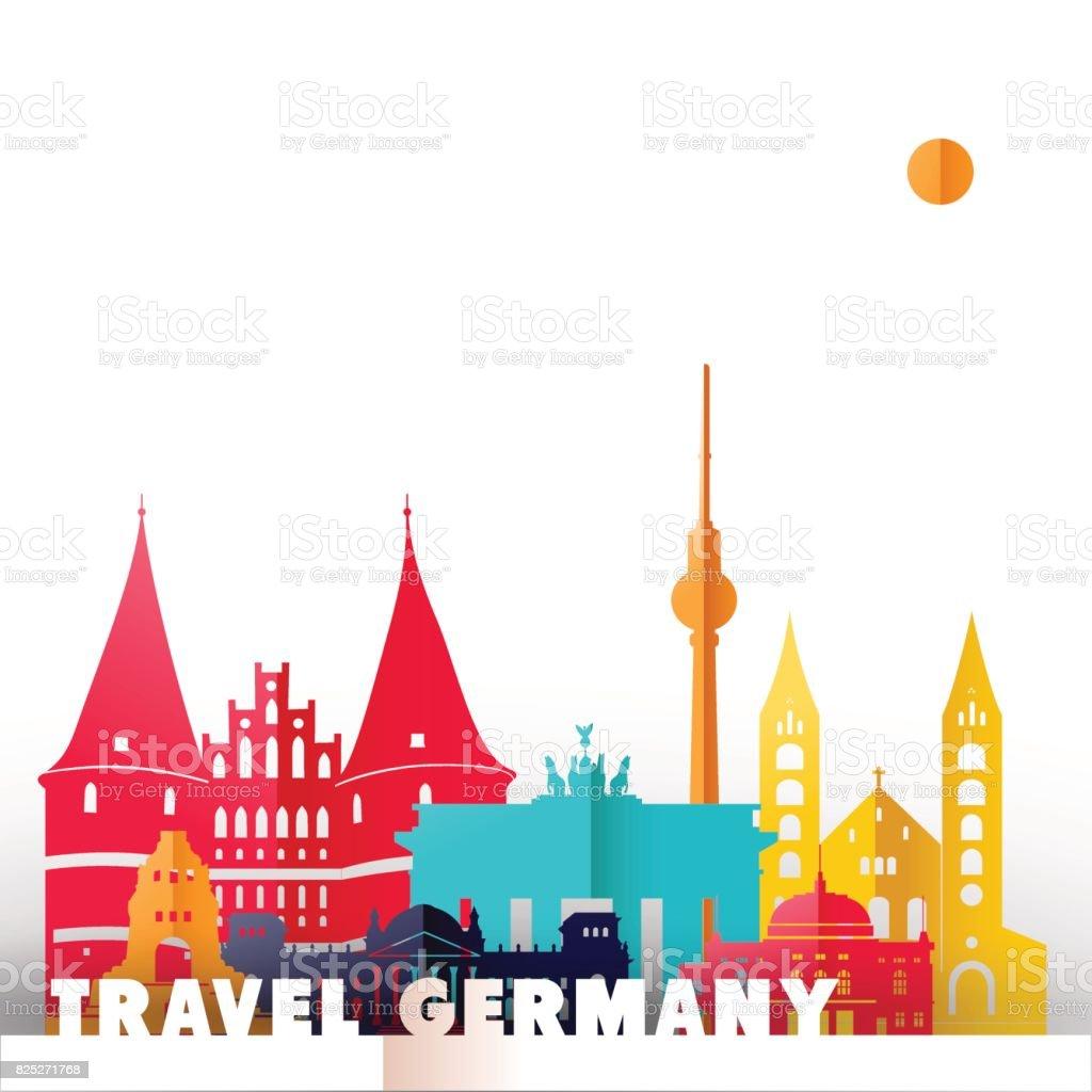 Reisen Scherenschnitt Deutschland Weltkulturerbe – Vektorgrafik