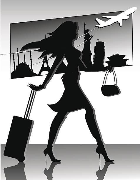Reisen Mädchen Silhouette – Vektorgrafik