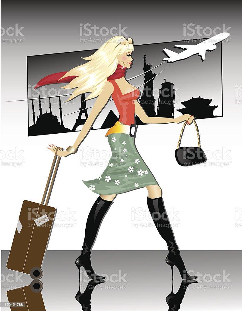 Travel Girl vector art illustration