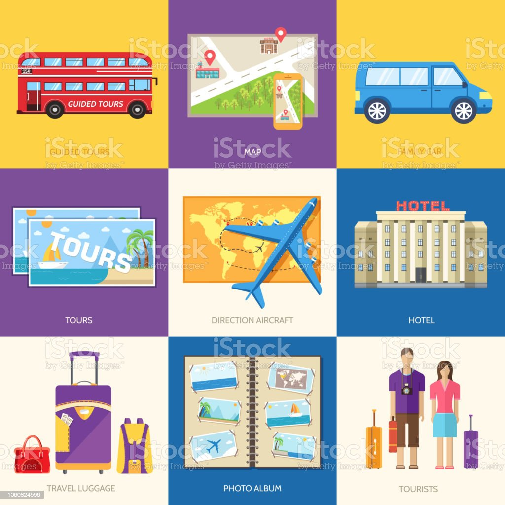 Travel guide infographic with vacation tour locations and items....