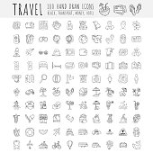 Travel hand draw icons. Icon lined cartoon collection about adventure, outdoor activities, beach, summer, travelling, get a vacation and extremal sport. Traveling icon set
