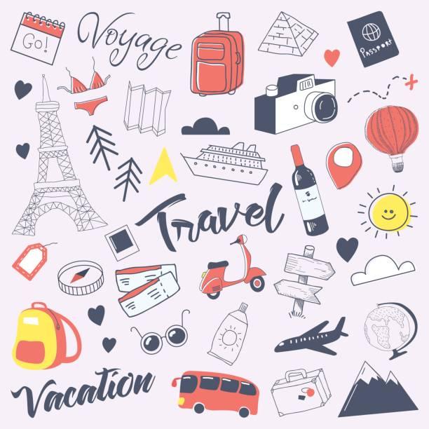 hand gezeichnet doodle mit gepäck, globus reisen - tour bus stock-grafiken, -clipart, -cartoons und -symbole