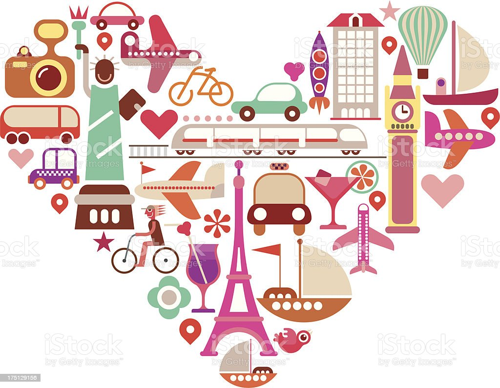 Travel Heart royalty-free stock vector art