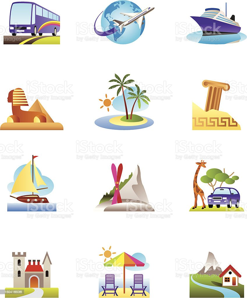 Travel, holidays and vacation icons set royalty-free travel holidays and vacation icons set stock vector art & more images of air vehicle