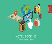 Travel hotel booking flat 3d isometric pixel art modern design concept vector. Search, book, pay for accomodation online, check in, passport, visa. Web banners illustration and website infographics.