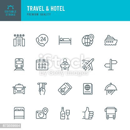Set of Travel & Hotel thin line vector icons.