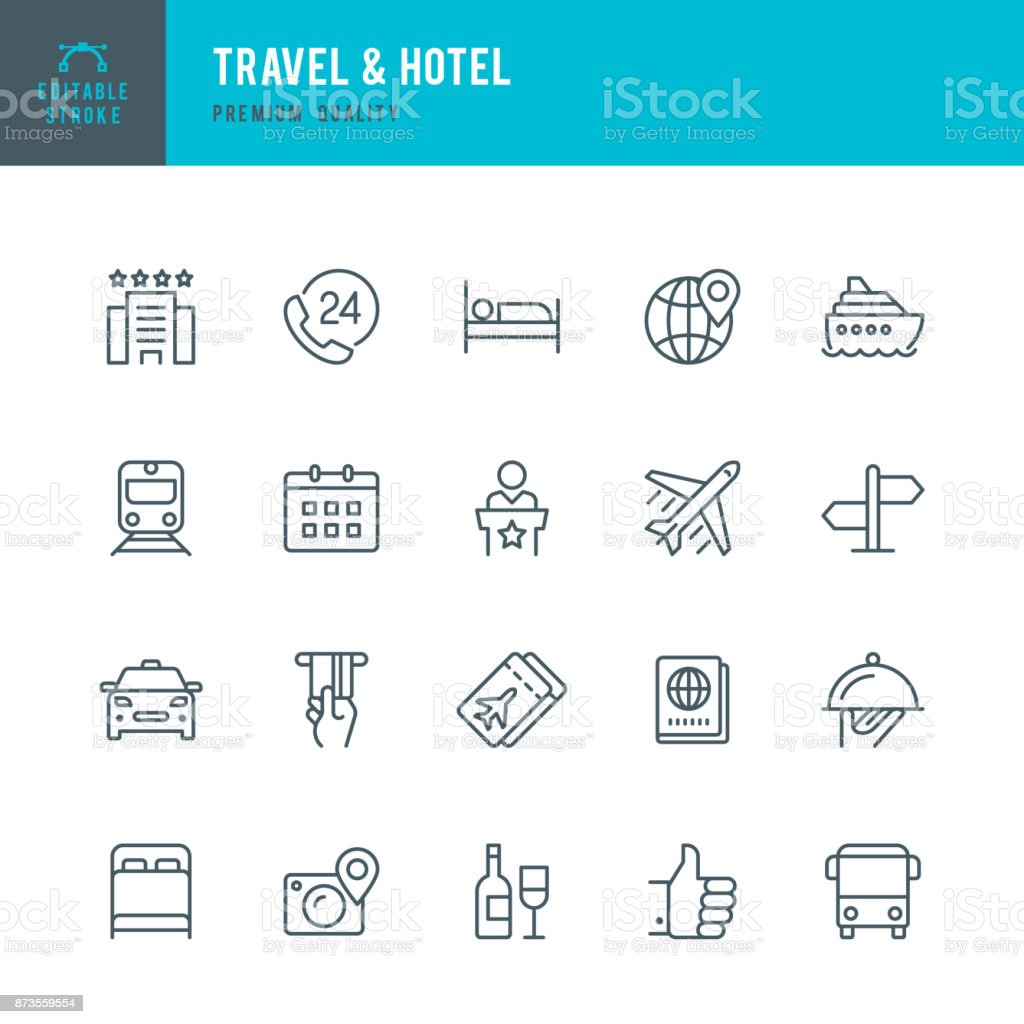 Travel & Hotel - set of thin line vector icons - illustrazione arte vettoriale