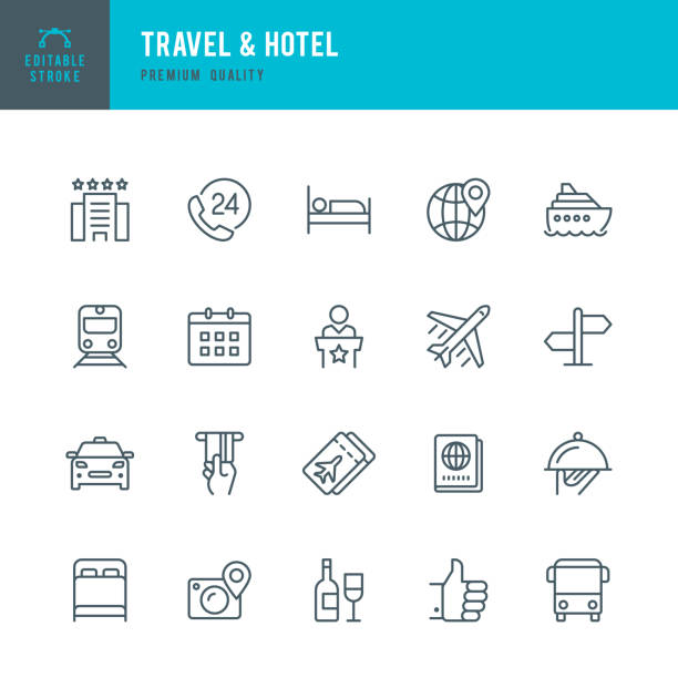 Travel & Hotel - set of thin line vector icons Set of Travel & Hotel thin line vector icons. hotel stock illustrations