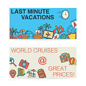 A set of banners with travel themed line icons and flat backgrounds.