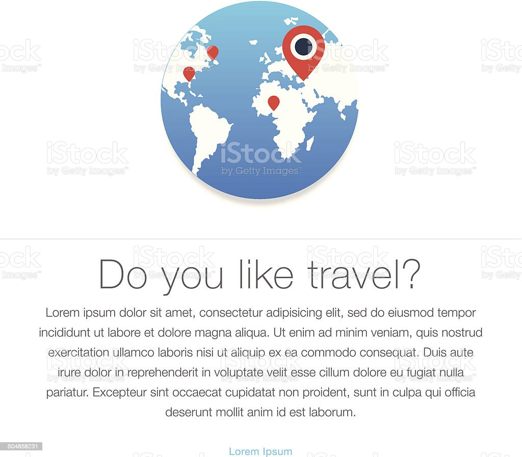 Travel icon. Map of the earth vector art illustration