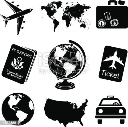 Travel Icon Set Black And White Stock Vector Art & More ...