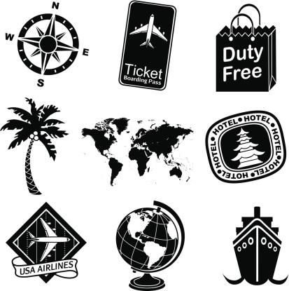 travel icon set black and white
