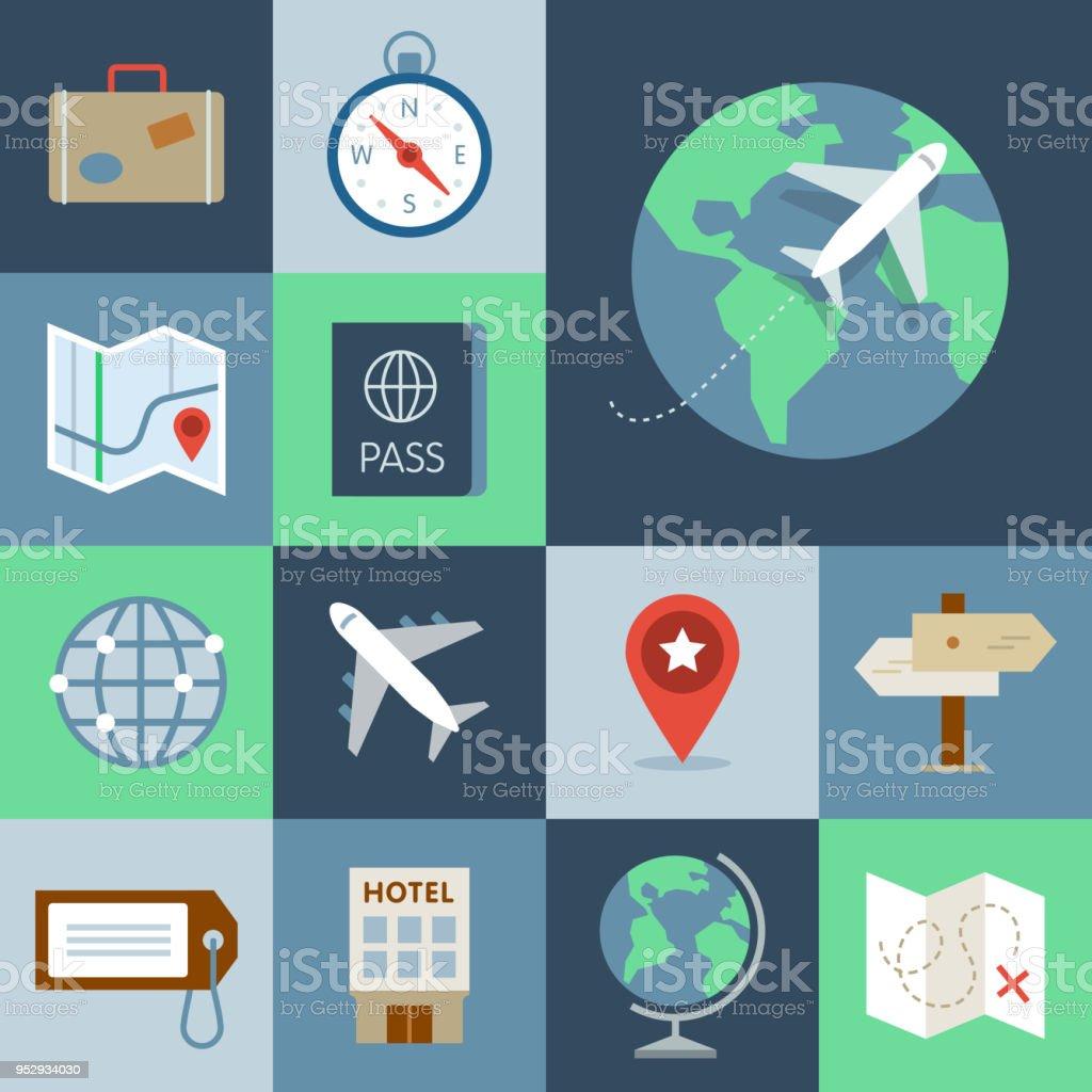 Travel Icon Set — Grid Series vector art illustration