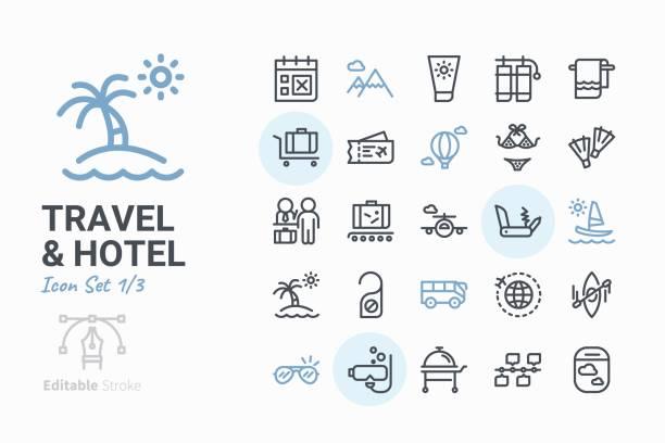 ilustraciones, imágenes clip art, dibujos animados e iconos de stock de conjunto de iconos de viaje - viaje de negocios
